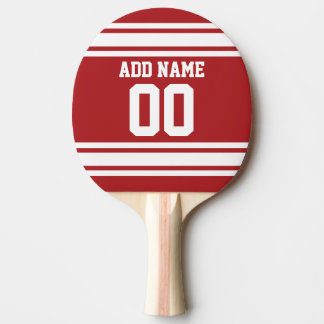 White and Red Sports Jersey Custom Name Number Ping Pong Paddle