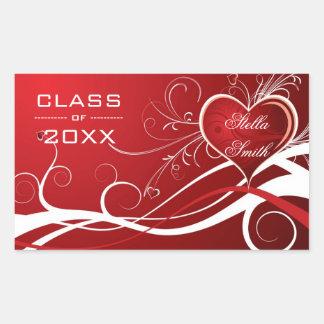 White And Red Swirls Hearts- Graduations Rectangular Sticker