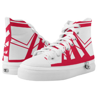 White and Red Triad High Top Printed Shoes