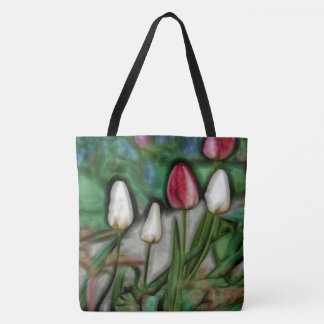 White and Red Tulips Tote Bag