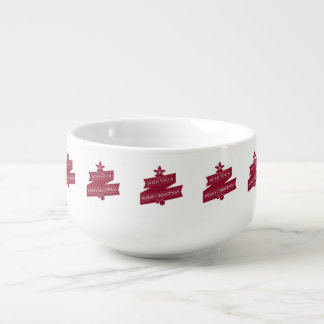 White And Red Wish You A Merry Christmas Soup Mug