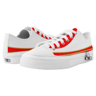 White and Red with Gold Trim Tres Lo-Top Printed Shoes