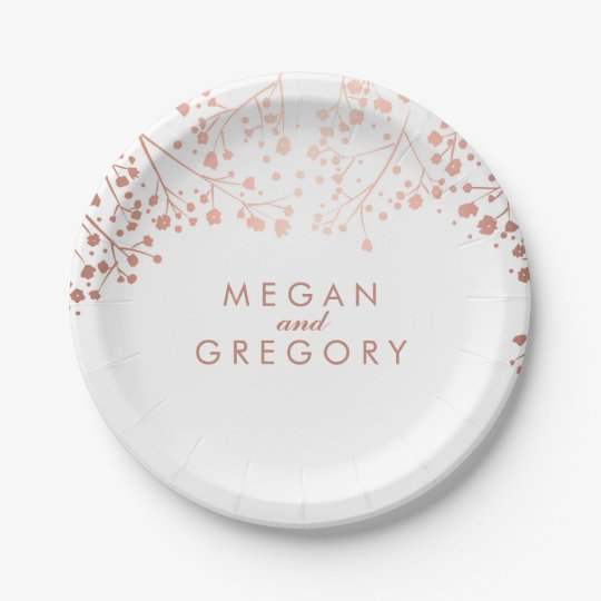 White and Rose Gold Baby's Breath Wedding Paper Plate