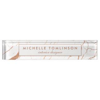 White and Rose Gold Marble Designer Nameplate