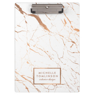 White and Rose Gold Marble Designer Personalized Clipboard
