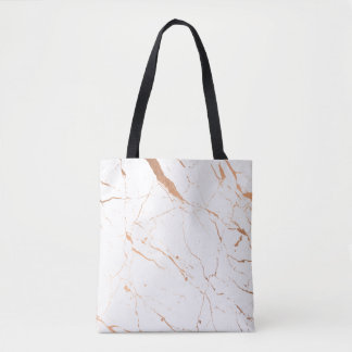 White and Rose Gold Marble Tote Bag