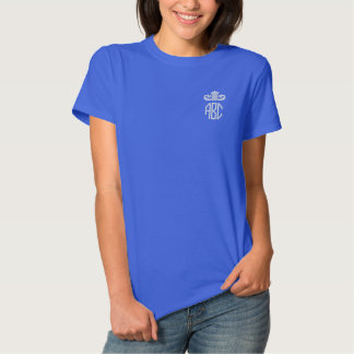 White and Royal Blue Monogram Embroidered Shirt