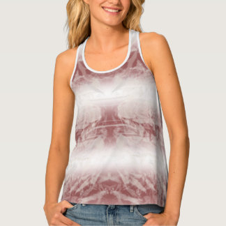 White And Rust Bleached Ombre Stripe Crinkle Dyed Tank Top