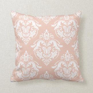 White And Salmon Pink Damasks Cushion