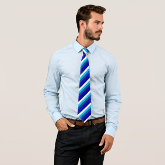 White and Shades of Blue Striped, Double Tie