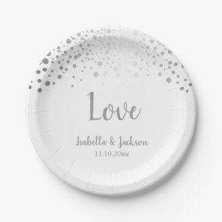 White and Silver Confetti Dots Paper Plate