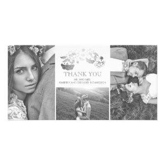White and Silver Floral Wedding Thank You Card