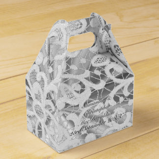 White and silver grey filigree lace damask wedding favour box