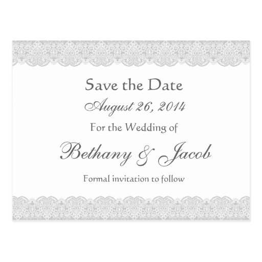 White and Silver Lace Save the Date Wedding A20 Post Cards