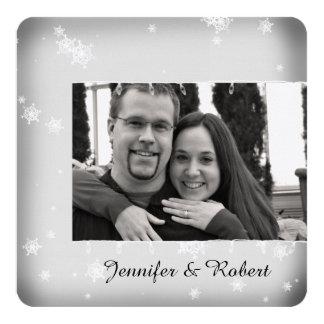 White and Silver Snowflake Wedding Invitation