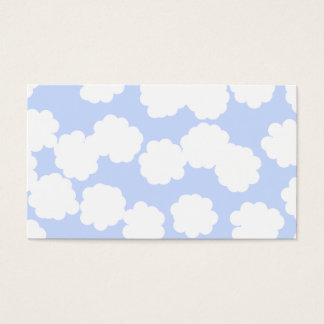 White and Sky Blue Clouds Pattern. Business Card