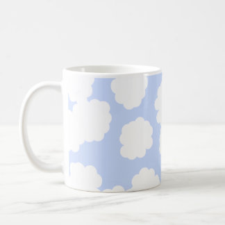 White and Sky Blue Clouds Pattern. Coffee Mug
