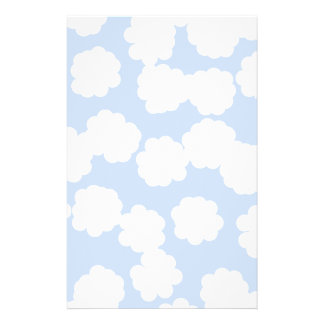 White and Sky Blue Clouds Pattern Flyers