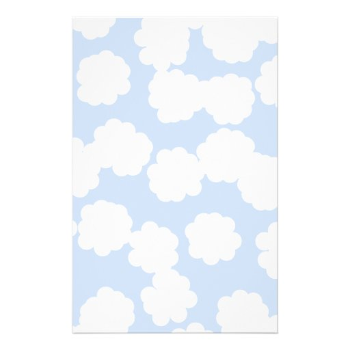 White and Sky Blue Clouds Pattern. Flyers