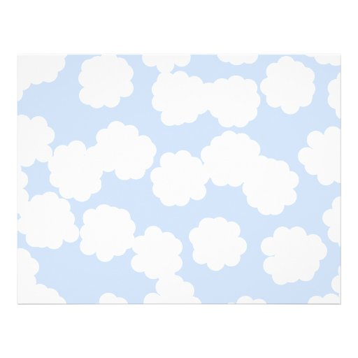 White and Sky Blue Clouds Pattern. Flyer
