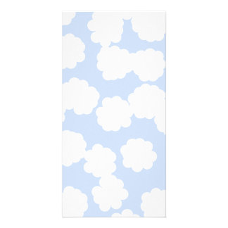 White and Sky Blue Clouds Pattern. Customized Photo Card