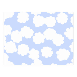 White and Sky Blue Clouds Pattern. Postcard