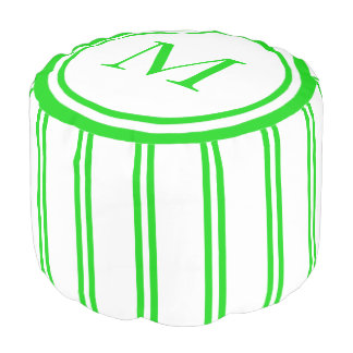 White and Summer Green Double Stripe Monogram Pouf