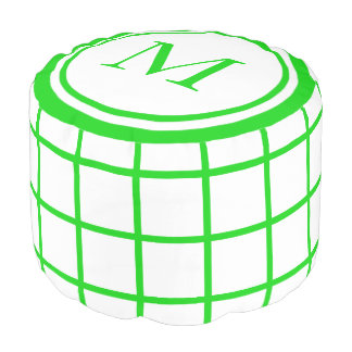 White and Summer Green Lattice Monogram Pouf
