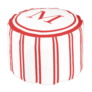 White and Summer Red Double Stripe Monogram Pouf
