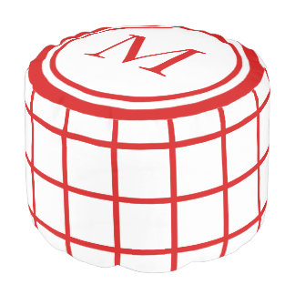 White and Summer Red Lattice Monogram Pouf