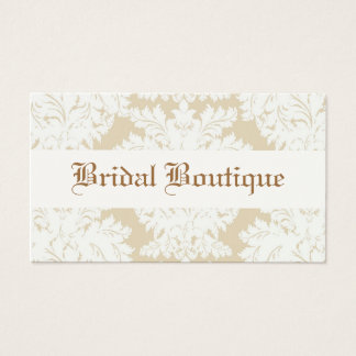 White and Taupe w/ Cream Damask Business Cards