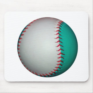 White and Teal Baseball / Softball Mouse Pad