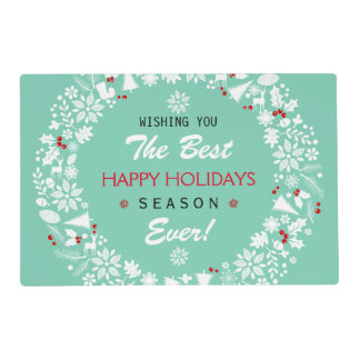 White And Teal Christmas Wreath Happy Holidays Laminated Placemat