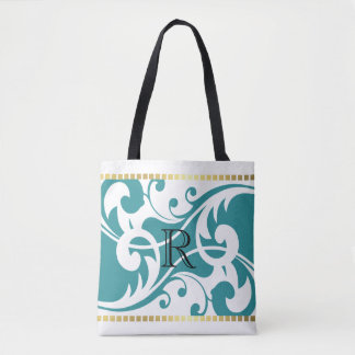 White and Teal Flourish Gold Border Monogram Tote Bag