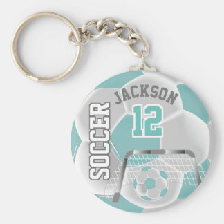 White and Teal Team Soccer Ball Key Ring