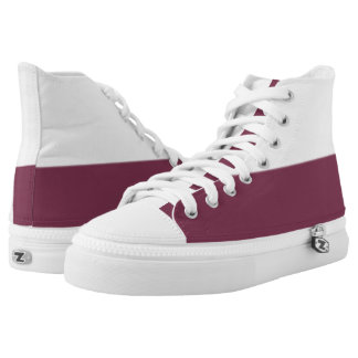 White and True Maroon Two-Tone Hi-Top Printed Shoes
