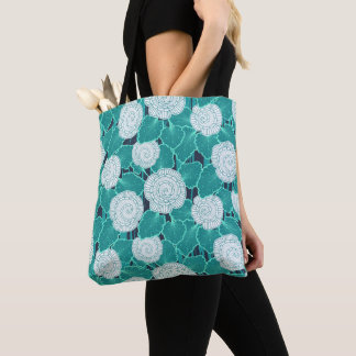 White and Turquoise Muffin Fleur Tote Bag