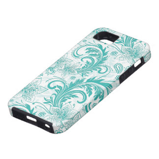White And Turquoise Retro Flower Large Pattern iPhone 5 Cases