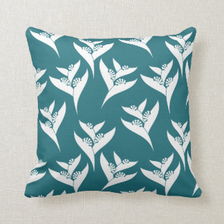 White And Turquoise Tropical Pattern Throw Pillow