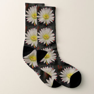 White and Yellow Cactus Bloom Socks 1