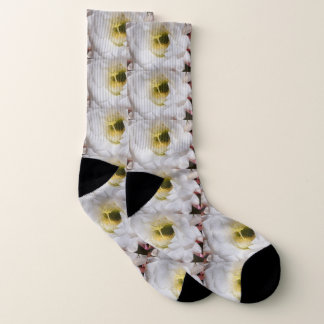 White and Yellow Cactus Bloom Unisex Socks