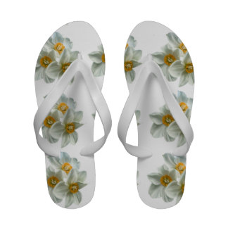 White and Yellow Daffodil Flip Flops