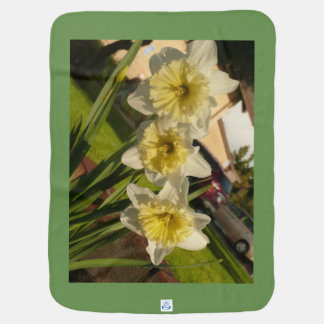 White and yellow daffodils spring flowers easter baby blanket