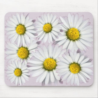 White and Yellow Daisies Floral Print Mouse Pad