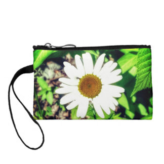 White and yellow daisy print women's clutch coin wallet
