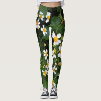 WHITE AND YELLOW FLOWERS LEGGINGS