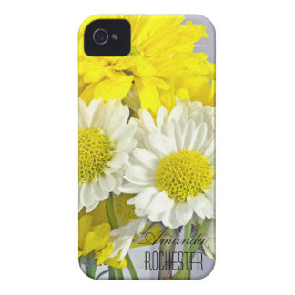 White and Yellow Flowers Monogram iPhone 4 Covers