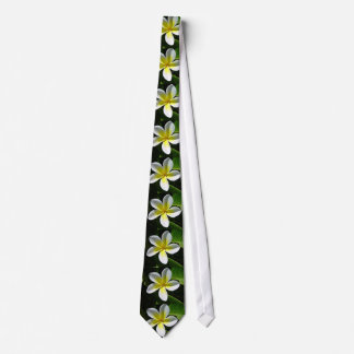 White and Yellow Frangipani blossom Tie