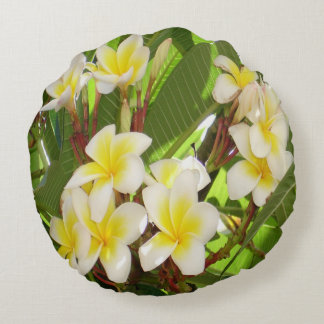 White and Yellow Frangipani Flowers with Leaves Round Cushion