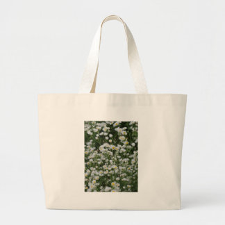 White and Yellow Mini little Daisy Aster flowers Large Tote Bag